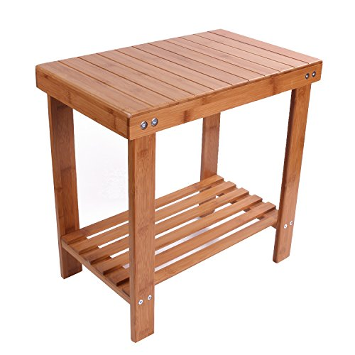 Utoplike Bamboo Bathtub Shower Seat Bench/Stool with Storage Shelf and Non slip Feet Indoor and Outdoor Bench (Large)