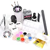 Full Primer Nail Art French Liquid Glitter Tips Acrylic Powder Brushes Tool Kit