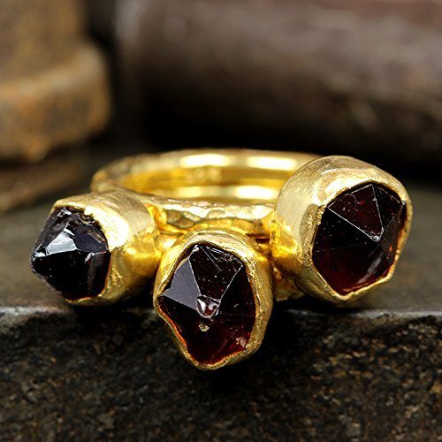 Natural Raw Garnet Stackable Ring Set Hammered 24K Yellow Gold Vermeil 925 Sterling Silver Set of Three Rough Gemstone Stacking Set