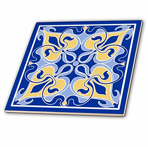 3dRose Single Victorian Art Nouveau Tile Design In Blue and Yellow - Ceramic Tile, 12-Inch (ct_219318_4) (Nouveau Single)