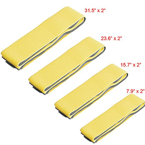 A.B Crew 4pcs Multipurpose Auto Trunk Organizer Velcro Straps Elastic Cargo Bandages for Cars SUV Vans(Yellow)