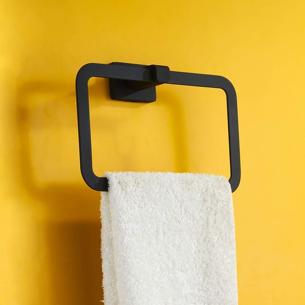 Sin punzonar Anillo de toalla negro Bastidor de toallas Colgador de torre de ba/ño Anillo redondo Color: Punz/ón Tama/ño: 22.5cm