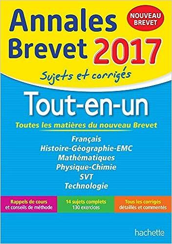 Livre gratuits en ligne Annales Brevet 2017 le Tout-en-un 3e - Nouveau programme 2016 pdf