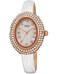 BUR234 Designer Women's Watch – Studded Oval Bezel with Double Row of Genuine Swarovski Crystals, Patent Leather Strap, 12 Crystal Markers (White)