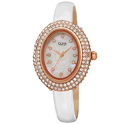 Burgi BUR234 Designer Women's Watch – Studded Oval Bezel with Double Row of Genuine Swarovski Crystals, Patent Leather Strap, 12 Crystal Markers (White) ()