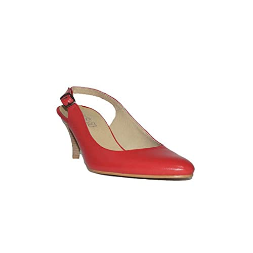 en venta 51330 4368d FLEX TECHNOLOGY - HRD TACÓN Fino Zapatos Mujer Tacón Medio Piel Fino Fiesta  Vestir Elegante Confort Cómodos Clásicos Color Negro Azul Rojo Beige