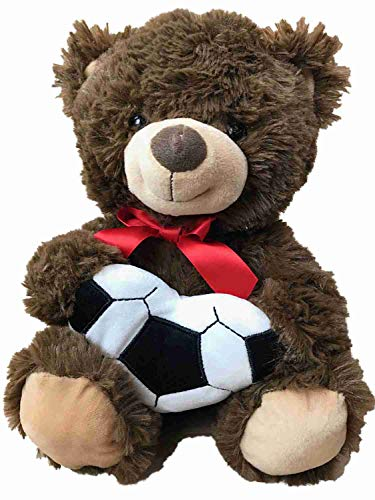 Kelly Toy Plush Brown Teddy Bear with Heart Shaped Soccer Ball Stuffed Animal Pal