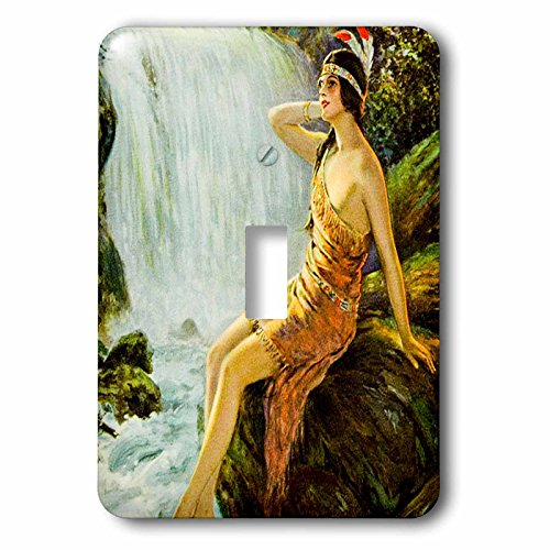 Moonlit Waters (3dRose (1) Single Toggle Switch (lsp_269812_1) Vintage Native American Princess Pin up Poster Moonlit Waterfall)
