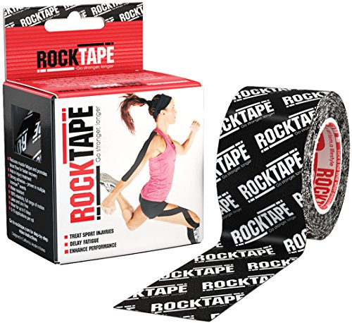 RockTape Original 2-Inch Water-Resistant Kinesiology Tape, 16.4-Foot Continuous Roll, Black Logo