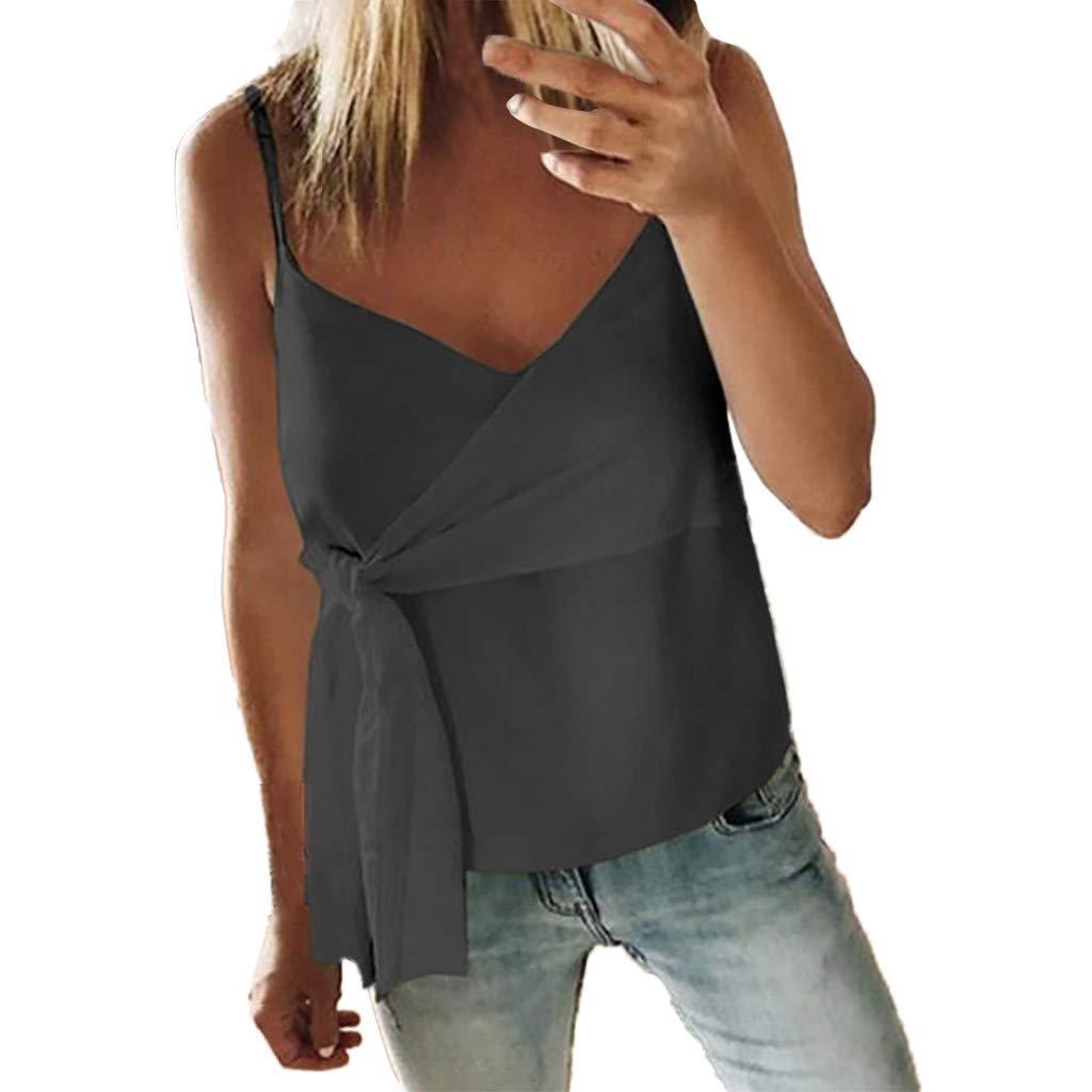 Blouses for Women Fashion 2019,YEZIJIN Women Summer Fashion Casual Camis Sleeveless Crop Ruffle Solid Bandage Tops Gray by Yezijin_Women's Wear (Image #1)