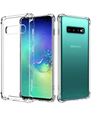 MoKo Compatible with Galaxy S10 Plus Case, Crystal Clear Case Reinforced Corners TPU Bumper + Anti-scratch Rugged Transparent Hard Panel Cover Fit with Galaxy S10+ 6.4 inch 2019 - Blue + Purple
