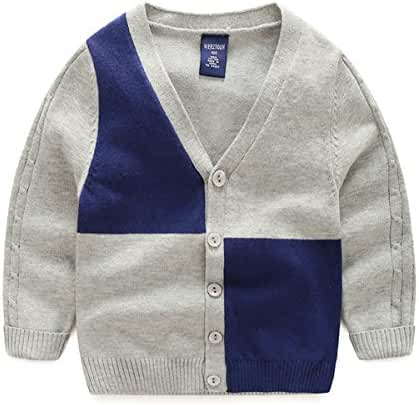 Toddler Kids Unisex Baby V-Neck Long Sleeve Button Front Knitted Cardigan Sweater