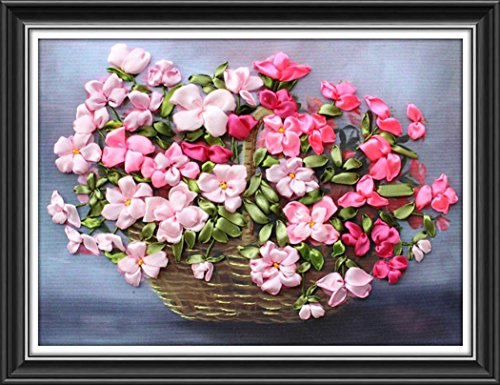 Aureate Handmade Silk Ribbon Embroidery Kits Canvas 3D Wall Art Home Decoration DIY Needlepoint Tapestry Hanging Gift Charming Floral Basket 18