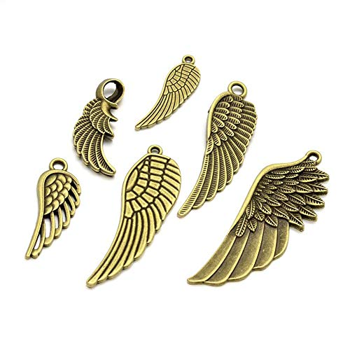 (Pandahall 30pcs/100g Tibetan Style Antique Bronze Alloy Angel Wing Spacer Charms 0.94~2.2 Inch Long Metal Feather Pendants for Jewelry Making (Random Mixed))