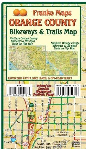 Orange County California Bikeways & Trails Guide Franko Maps Waterproof Map