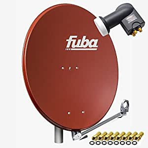 Fuba dal 800R Antena Satélite Aluminio Rojo Ladrillo 80cm + LNB Quad PremiumX PXQS-04de 04Quattro Switch para conexión directa de 4participantes Digital HDTV FullHD 3d + 8conectores F