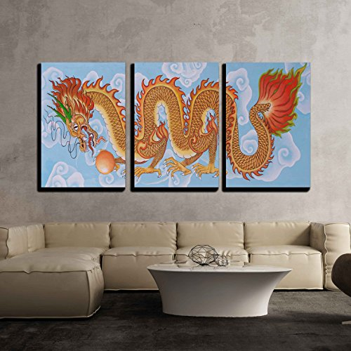 (wall26-3 Piece Canvas Wall Art - Tradition Chinese Painting on Chinese Temple Wall - Modern Home Decor Stretched and Framed Ready to Hang - 24
