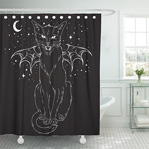 TOMPOP Shower Curtain Creepy Black Cat Monster Wings Over Night Sky Moon Waterproof Polyester Fabric 60 x 72 Inches Set with Hooks]()