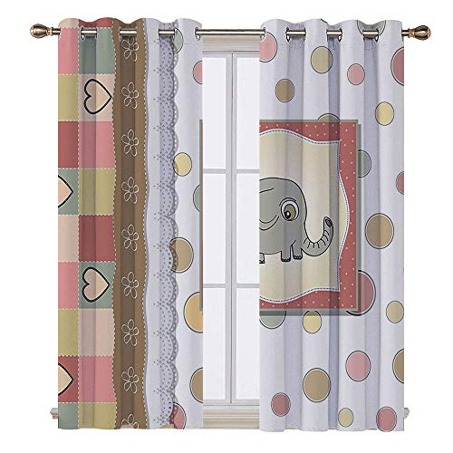 SATVSHOP Thermal Insulating Blackout Curtain - 120W x 96L Inch- Patterned Drape for Glass Door.Elephant Nursery Vintage omantic Composition Playful Kids Childish Drawing Hearts