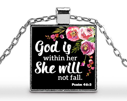 Tile Gods Will (Psalm 46:5 God is Within Her She Will Not Fall | 1 inch square pendant with 18 inch necklace | Scripture Jewelry)