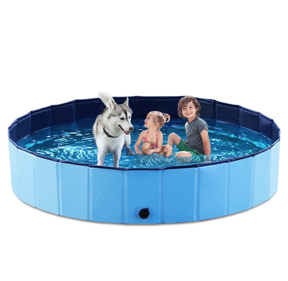 Jasonwell Foldable Dog Pet Bath Pool Collapsible Dog Pet Pool Bathing Tub Kiddie Pool for Dogs Cats & Kids (63''.D x 11.8''.H, Blue) by Jasonwell