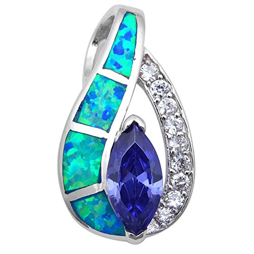 Simulated Tanzanite, Lab Created Opal & Cubic Zirconia .925 Sterling Silver Pendant Necklace (Lab Created Blue Opal)