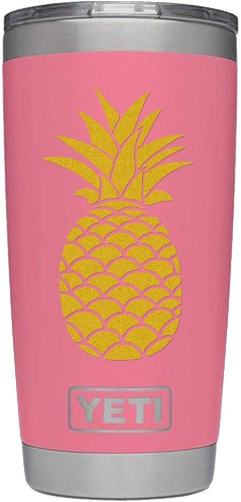 ViaVinyl Pineapple decal. Perfect for automobile windows, iPhone and Android cell phones, iPad and Tablets, Macbook Laptops and more! (Gold)