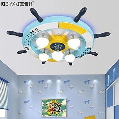 BL Modern European style Creative rudder Eastern Mediterranean children's room ceiling lamp with master bedroom boy cartoon lamp 17W-white light LED lamp 450*450*130mm,Ceiling Lamp (110-120V)