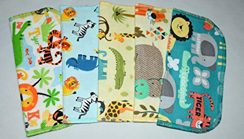 2 Ply Printed Flannel Washable-Safari Babies-Set Napkins 8x8 inches 5 Pack - Little Wipes (R) Flannel
