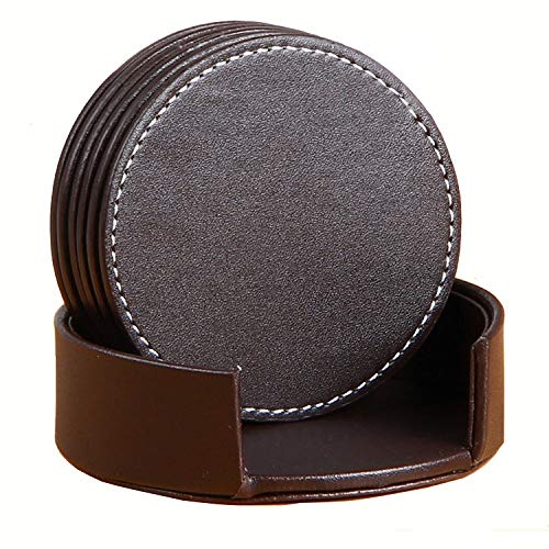 Coasters for Drinks, Set of 6 Round Leather Coffee Coasters, 10cm