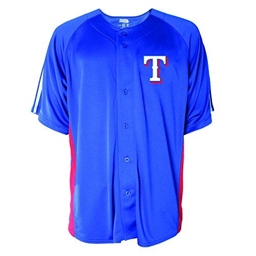 MLB Texas Rangers Men's Button Down Fashion Jersey, Royal, Medium (Rangers Jerseys Mens)