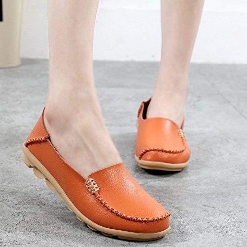 Lingtom Dameslederen Instapschoenen Casual Moccasineschoenen Plat Uitlopende Slip-on Schoenen Slippers Oranje