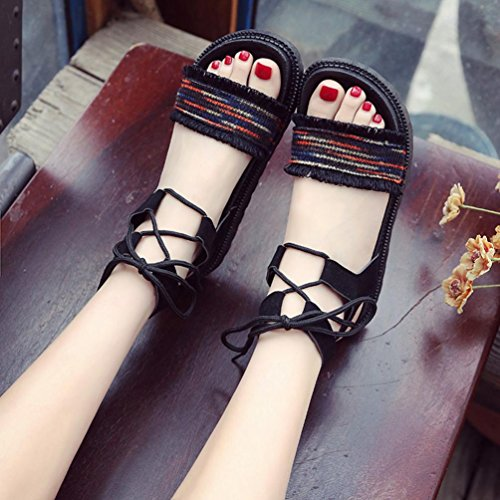 Heel Red Women Shoes Cross Sandals Colors hunpta Tied Beach Flat Peep Mixed Heel ACHSSgxq