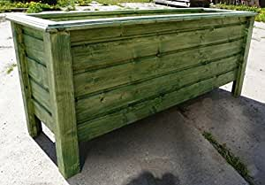 Maceta de madera Classic 90x 40x 50cm barnizado con barniz para madera verde