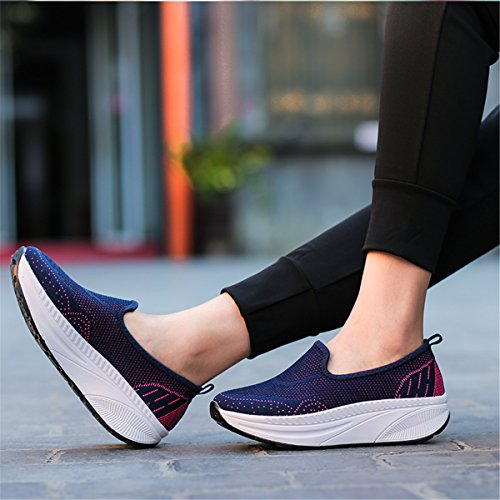 Fashion Wedges Womens Lightweight Blue Loafers Sports Walking Beeagle Platform Rocking Shoes Sneakers Mesh TFpqxSCw