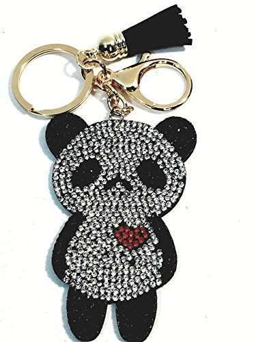 SF Toys Panda Bear with A Heart & Tassel Studded Lab Diamond Bling Keychain ()