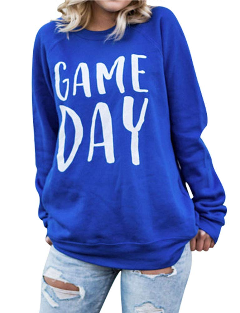 Nlife Women Game Day Letter Print Shirt Crew Neck Long Sleeve Casual Style Solid Sweatshirt Tops Blouse