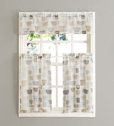 Easy Care Fabrics 259900 Coffee 3 Piece Kitchen Set Includes Two 24 Long Tier Curtains