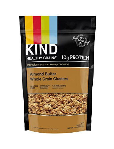 KIND Healthy Grains Clusters, Almond Butter Granola, 10g Protein, Gluten Free, Non GMO, 11 Ounce Bags, 6 Count