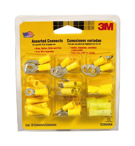 3M 03804NA Yellow Assorted Connectors for 12 to 10-Gauge Wire, 28-Pack