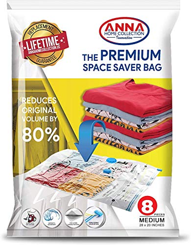 Anna Home Jumbo Vacuum Storage Bags (8 Medium) Space Saver Storage Bags. Durable and Reusable Vacuum Sealer Bags for Clothes Storage, Travel Hand Pump Included