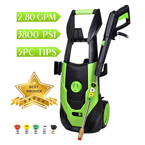 WATTY Electric Pressure Washer, Electric Power Washer with 5 Quick-Connect Spray Tips, Pressure Cleaner - 3800 PSI 2.80 GPM,Green