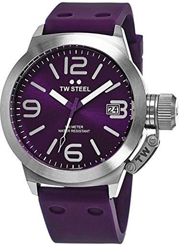TW Steel Canteen Watch Mens - Purple Dial Date TW Steel Watch Mens - Purple Silicone Rubber Band 45mm Stainless Steel Watch TW515