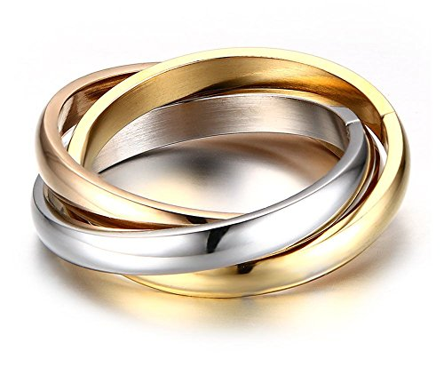 Tri Gold 14k Stone - YIKOXI 3MM Stainless Steel Trinity Ring Tri-Tone Interlocked Rolling Eternal Wedding Band for Womens Girls,Size 5-10 (Silver+Gold+Rose Gold, 7)