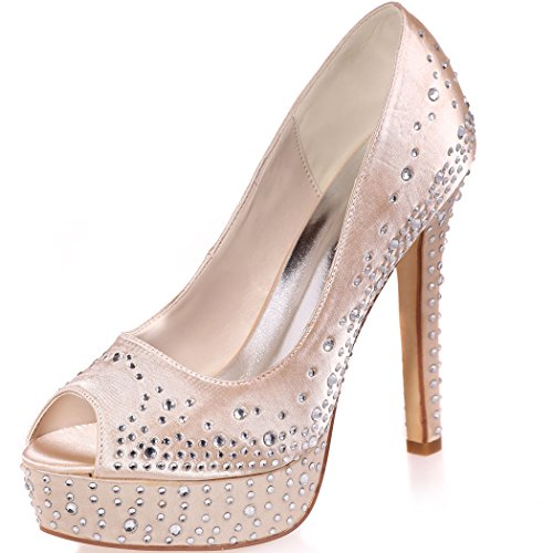 Clearbridal Women's Satin Wedding Bridal Shoes Open Peep Toe High Heel for Evening Prom Party with Rhinestone Crystal ZXF3128-17A Champagne VvQoNdD