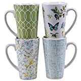 Certified International The Greenhouse Latte Mugs (Set of 4), 16 oz, Multicolor