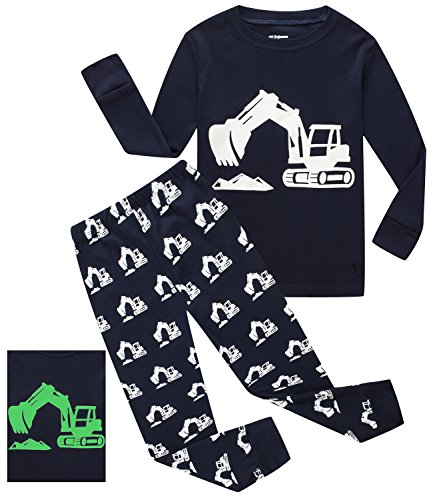 If Pajamas Glow In The Dark Excavator Little Boys Long Sleeve Pajamas Sets 100  Cotton Sleepwears Kids Pjs Size 6