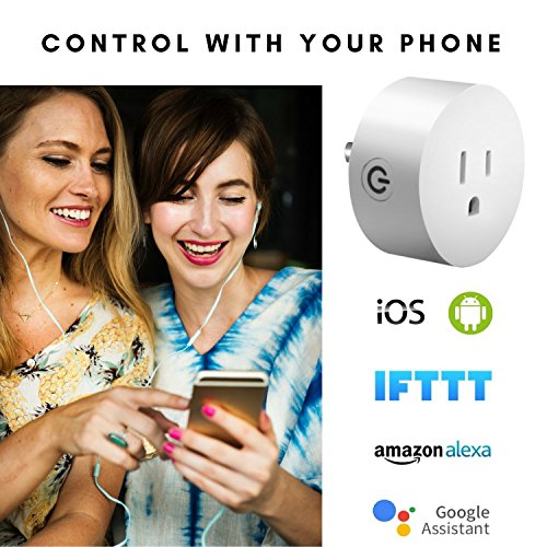 One Hour Smart Home - Smart Plug   Wifi Outlet Plug Mini Smart Socket   Voice Control   Remote & Smart Phone Controller   Works with Amazon Alexa   Amazon Echo & Google Assistant   No Hub Needed by One Hour Smart Home (Image #3)