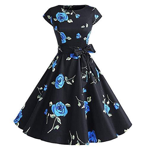 Women's Vintage Retro 1950s Elegant Country Rock Vintage Floral Print Cocktail Party Swing Retro Dress Hepburn Style Party Dress Black Blue Flower]()