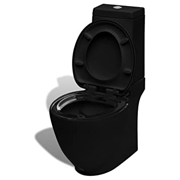 vidaXL Design Stand WC Bodenstehend mit Sp/ülkasten Keramik Schwarz Toilette